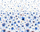 Ink Flowers Digital - Flowers Border Blue on White by Ninola Design from P & B Textiles Fabric