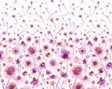 Ink Flowers Digital - Flowers Border Pink by Ninola Design from P & B Textiles Fabric