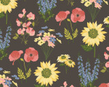 Prairie Sisters - Milly Flowers Gray Brown from Poppie Cotton Fabric