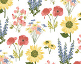 Prairie Sisters - Milly Flowers White from Poppie Cotton Fabric