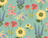 Prairie Sisters - Milly Flowers Mint from Poppie Cotton Fabric