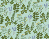 Prairie Sisters - Alice Leaves Mint from Poppie Cotton Fabric