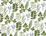 Prairie Sisters - Alice Leaves White from Poppie Cotton Fabric