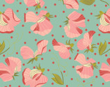 Prairie Sisters - Sara Sweet Peas Mint from Poppie Cotton Fabric