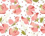 Prairie Sisters - Sara Sweet Peas White from Poppie Cotton Fabric