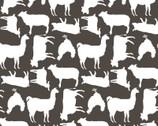 Prairie Sisters - Barnyard Animals Dark Gray from Poppie Cotton Fabric