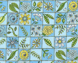 Doodle Pop - Flower Squares Blue from RJR Fabrics