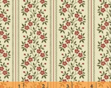 Clayton - Floral Stripe Cream Red by Nancy Gere from Windham Fabrics