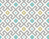 Lindos Metallic - Greek Tiles White from Lewis and Irene Fabric