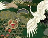 1000 Tsuru II Metallic - Crane Scenic Dark Green Forest from Quilt Gate Fabric
