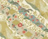 1000 Tsuru II Metallic - Nature Crane Stripe Gold from Quilt Gate Fabric
