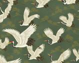 1000 Tsuru II Metallic - Flying Crane Dusty Green from Quilt Gate Fabric