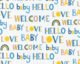 Welcome Baby FLANNEL - Welcome Baby Words Blue from Robert Kaufman Fabric