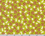 Berry Season - Mushrooms Pickle Green by Elizabeth Hartman from Robert Kaufman Fabric