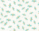 Hugs and Loves - Dragonfly Turquoise on White from Henry Glass Fabric
