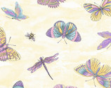 Graceful Garden - Flitterflies Pale Yellow from EPIC Fabrics