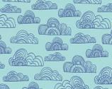 Jungle Fever - Clouds Aqua by Rebecca Jones from Clothworks Fabrics
