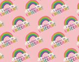 I Believe In Unicorns - Rainbow Pink from Camelot Fabrics