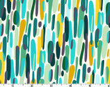 Over and Under - Dashes Teal Aqua Mustard by Helen Dardik from Clothworks Fabrics