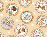 Camp A Long Critters - Circle Framed Animals Beige from Studio E Fabrics