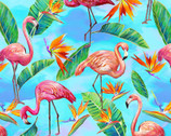Fabulous Flamingos - Tropical Light Blue by Ro Gregg from Paintbrush Studio Fabrics