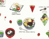 Food Land COTTON LINEN - Plated Food Labels White from Lecien Fabric