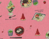 Food Land COTTON LINEN - Plated Food Labels Pink from Lecien Fabric