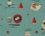 Food Land COTTON LINEN - Plated Food Labels Teal Aqua from Lecien Fabric