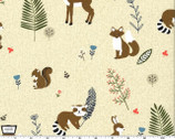 Critter Tails - Animals Khaki from Michael Miller Fabrics