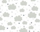 Moon and Stars - Clouds Stars White Grey from Timeless Treasures Fabrics