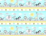 Little Sunshine - Repeating Stripe Multi Animals from Wilmington Prints Fabric