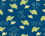 Water Wishes - Sea Turtles Navy Blue by Danielle Leone from Wilmington Prints Fabric