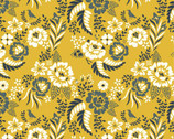 Merryweather CANVAS - Merry Floral Marigold by Arleen Hillyer from Birch Organic Fabric