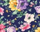 Woodside Blossom - Floral Bouquet Toss Navy from Robert Kaufman Fabric