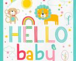 Welcome Baby FLANNEL - Baby Jungle Animals Panel Aqua Teal from Robert Kaufman Fabric