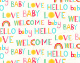 Welcome Baby FLANNEL - Welcome Words Rainbow from Robert Kaufman Fabric