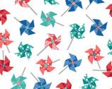 Sprinkle Sunshine - Pinwheels Multi White by Kim Christopherson from Maywood Studio Fabric