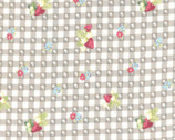 La Conner Metallic - Strawberry Flower Grey from Lecien Fabric