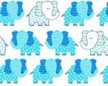 Swingin' Safari - Aqua Elephant on White from Studio E Fabrics