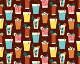 Food Trucks - Cocktail Drinks Brown by Jeanie Phan from Paintbrush Studio Fabrics