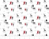 Hudson - Scenery Animals Trees White from Camelot Fabrics