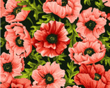Poppy Poetry - Floral Poppies Coral by Cedar West from Clothworks Fabric