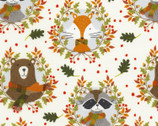 Lookin' Foxy - Forest Animals Wreath Cream from Timeless Treasures Fabrics