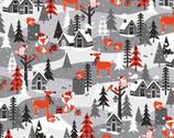 Noel Forest - Scenic Animal Santa Houses Grey from KANVAS by Benartex Fabrics