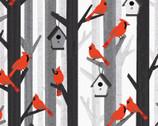 Noel Forest - Cardinals Gray from KANVAS by Benartex Fabrics