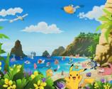 Pokemon - Scenic Characters Tropics PANEL from Robert Kaufman Fabric