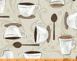 Dark Roast - Cups Spoons Cream by Whistler Studios from Windham Fabrics