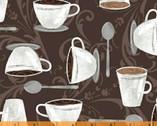 Dark Roast - Cups Spoons Dark Brown by Whistler Studios from Windham Fabrics