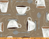 Dark Roast - Cups Spoons Tan by Whistler Studios from Windham Fabrics