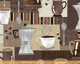 Dark Roast - Coffee Pots Mugs Coffee Time by Whistler Studios from Windham Fabrics